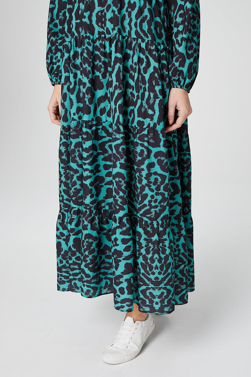 Green | Animal Print Long Sleeve Smock Dress