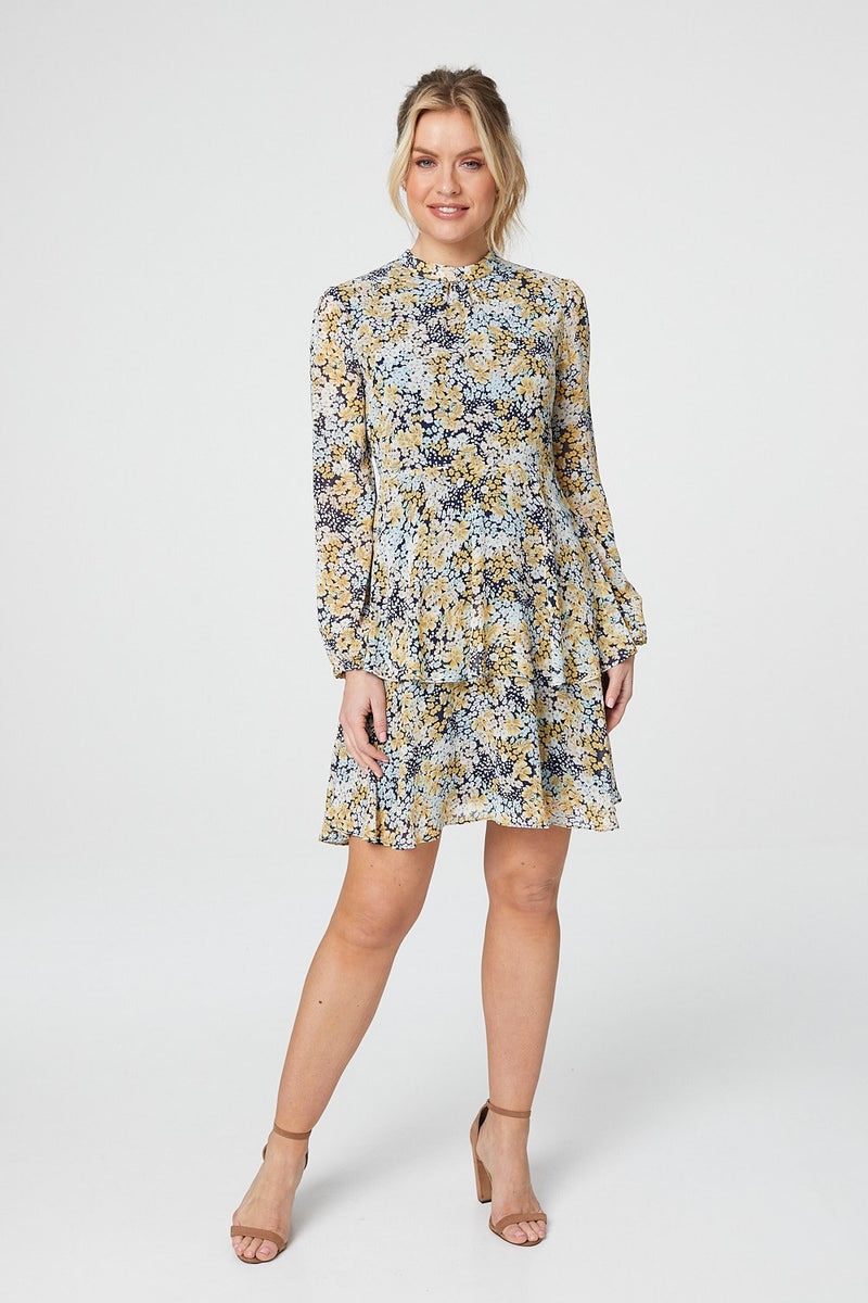 Yellow | Ditsy Floral Long Sleeve Skater Dress