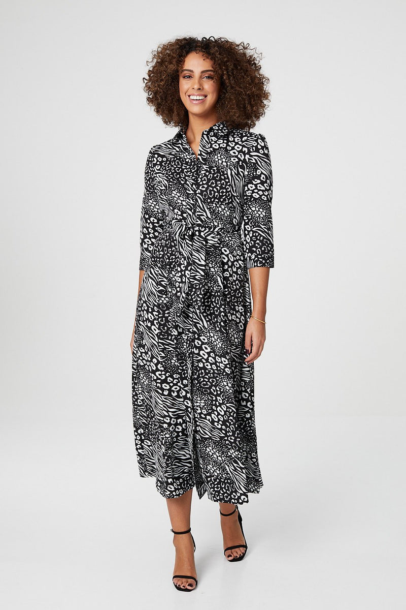 Black | Animal Print 3/4 Sleeve Shirt Dress