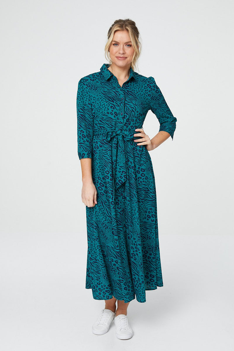 Green | Animal Print 3/4 Sleeve Shirt Dress