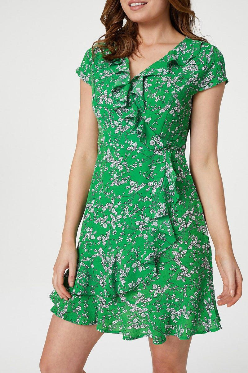 Green | Floral Wrap Front Frilled Dress