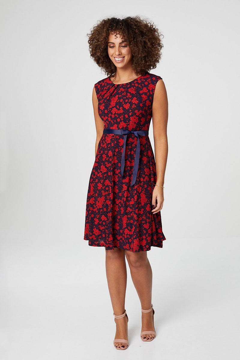 Red | Floral Sleeveless Fit & Flare Dress