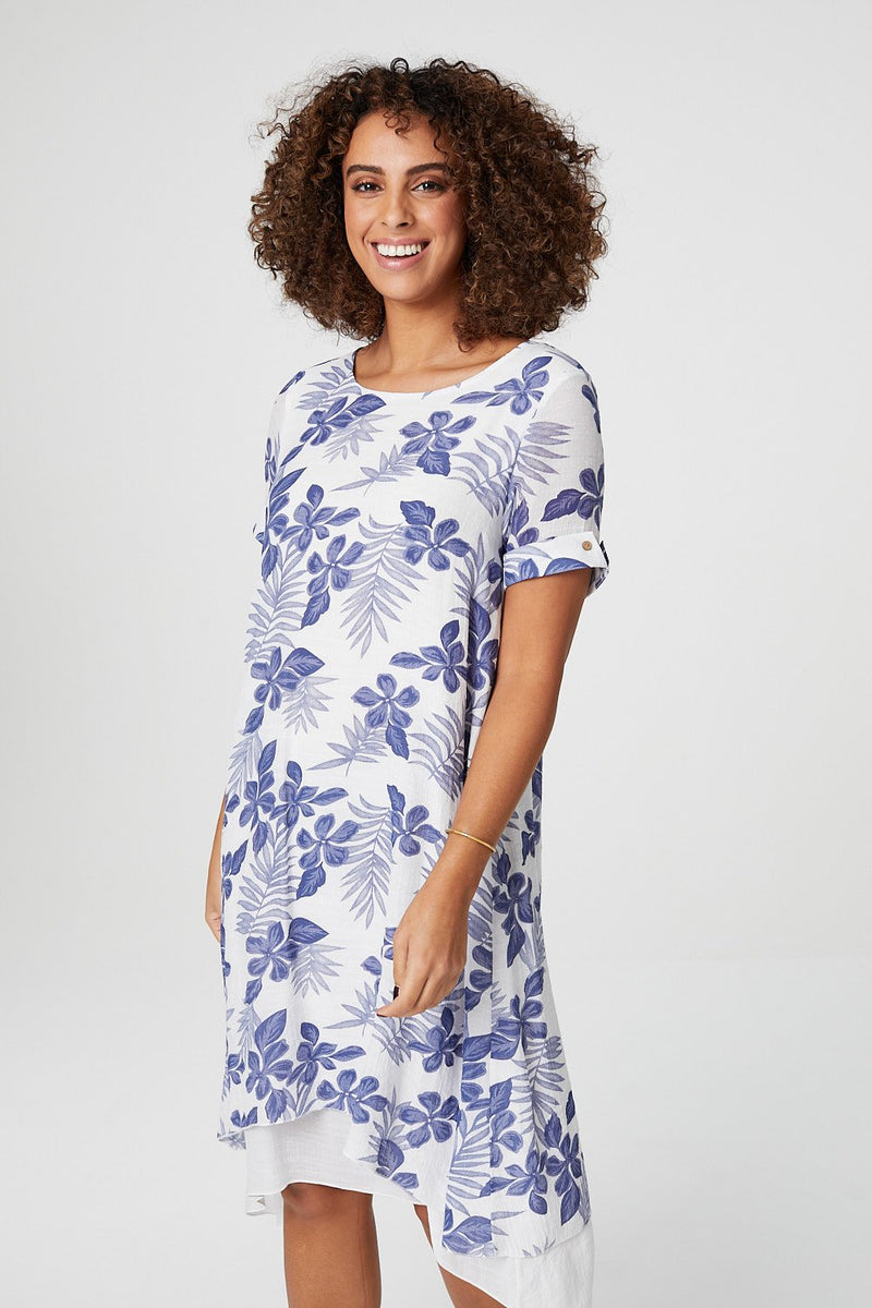 Blue | Floral Short Sleeve Midi Tunic Dress