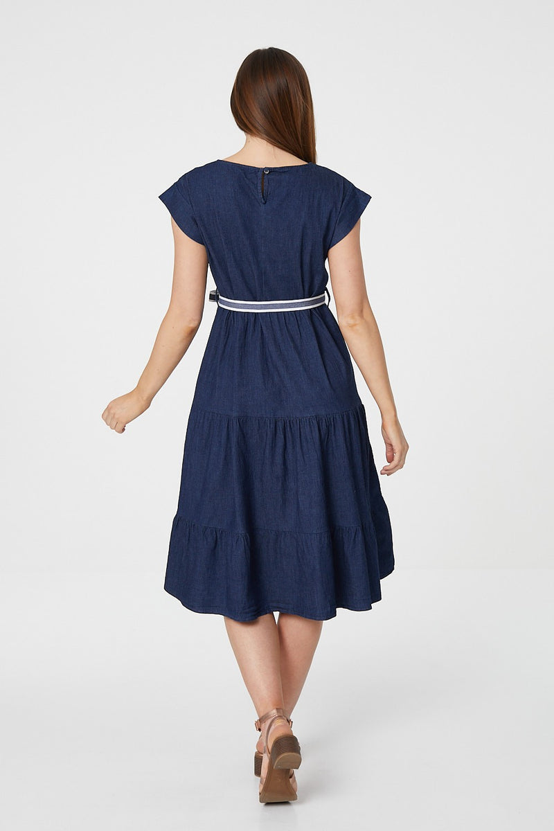 Blue | Short Sleeve Smock Dress