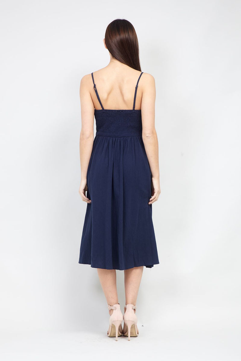 Navy | Button Front Cami Dress