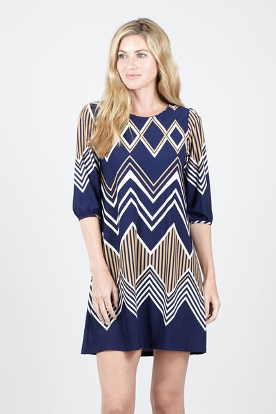 Chevron Print Shift Dress - Izabel London