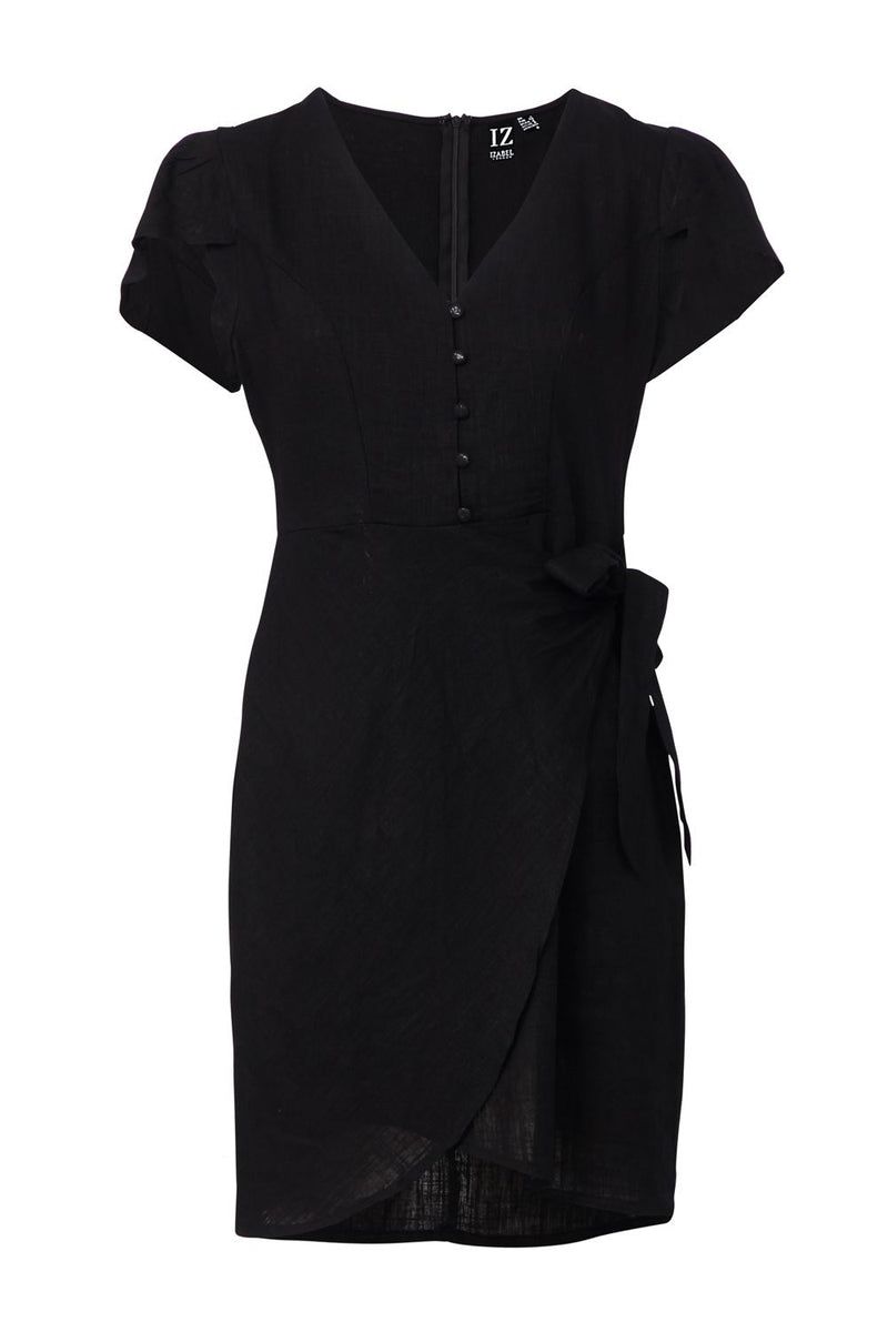 Black | Wrap Front Tea Dress