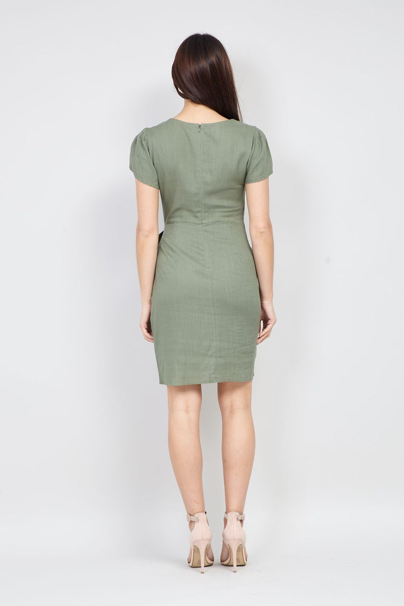 Green | Wrap Front Tea Dress