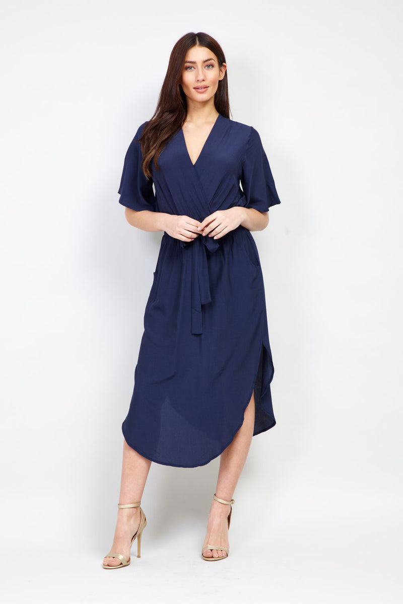 Tie Waist Midi Dress - Izabel London
