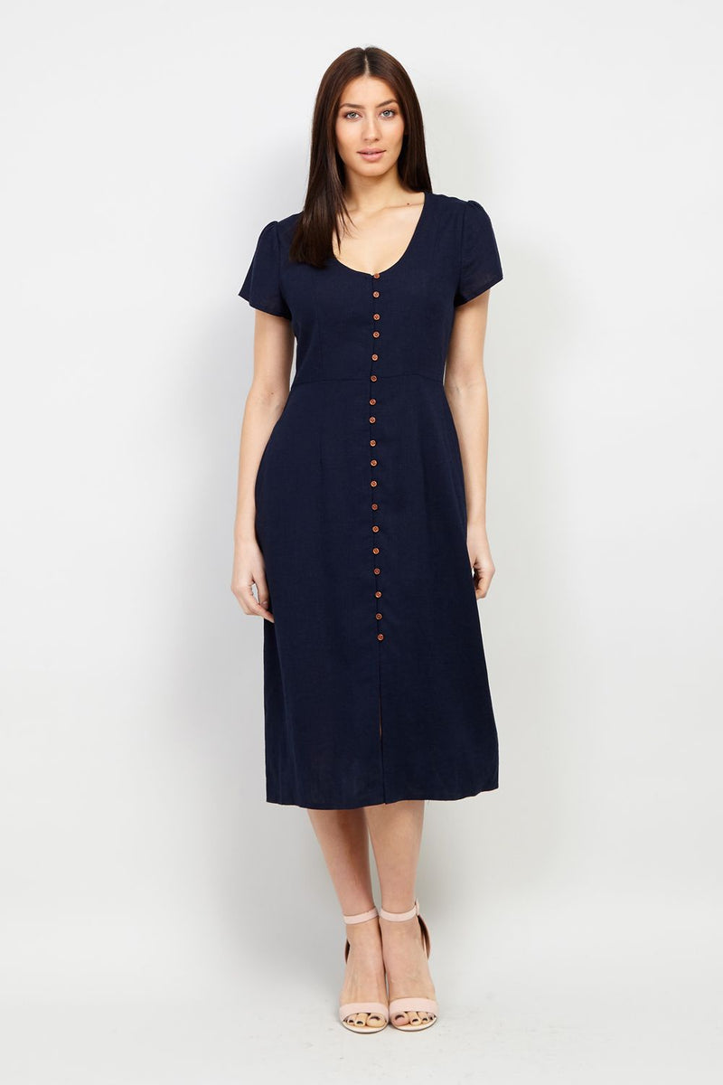 Navy | Button Front Midi Dress