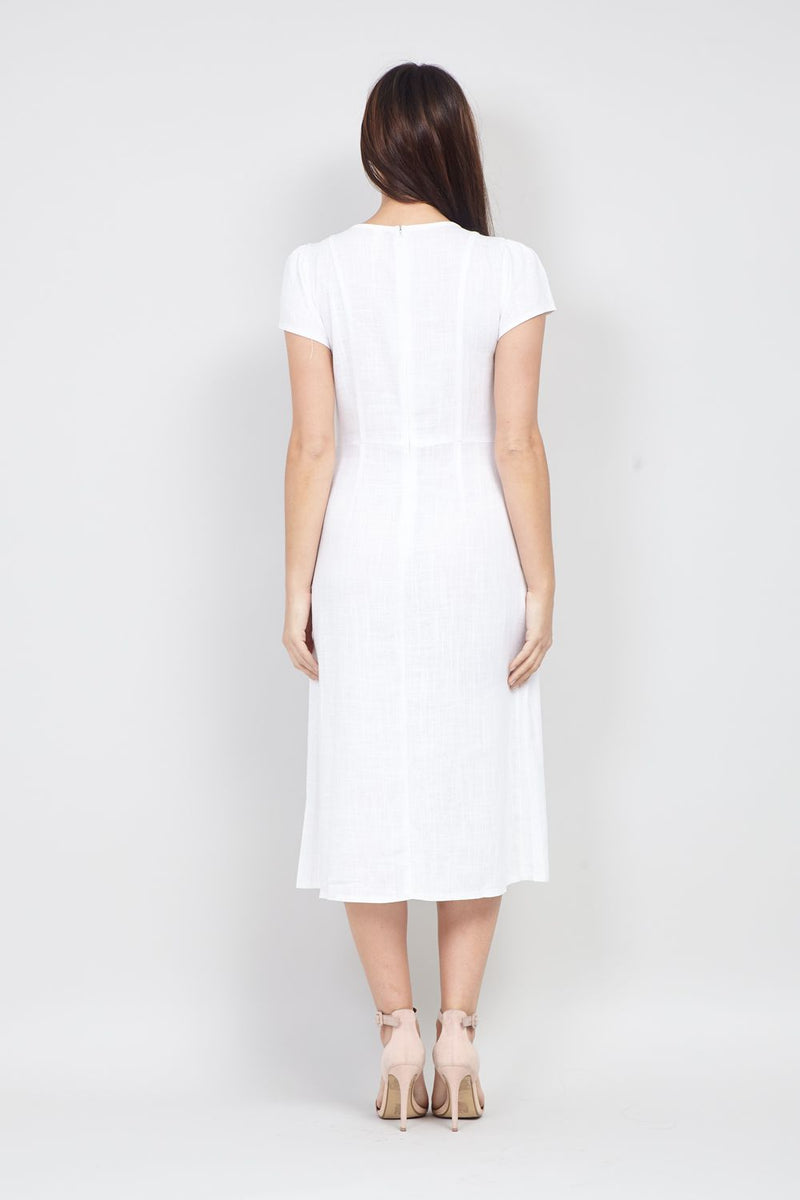 White | Button Front Midi Dress
