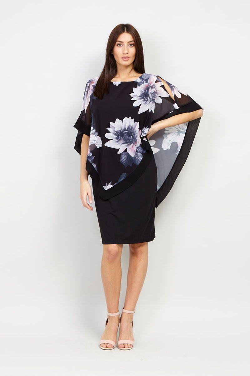 Floral Cape Overlay Dress - Izabel London