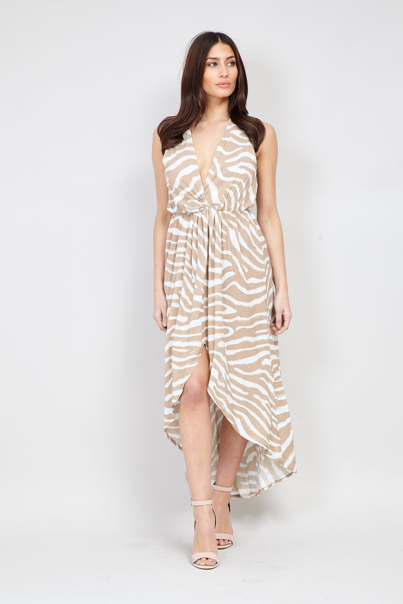Beige | Zebra Print High Low Dress