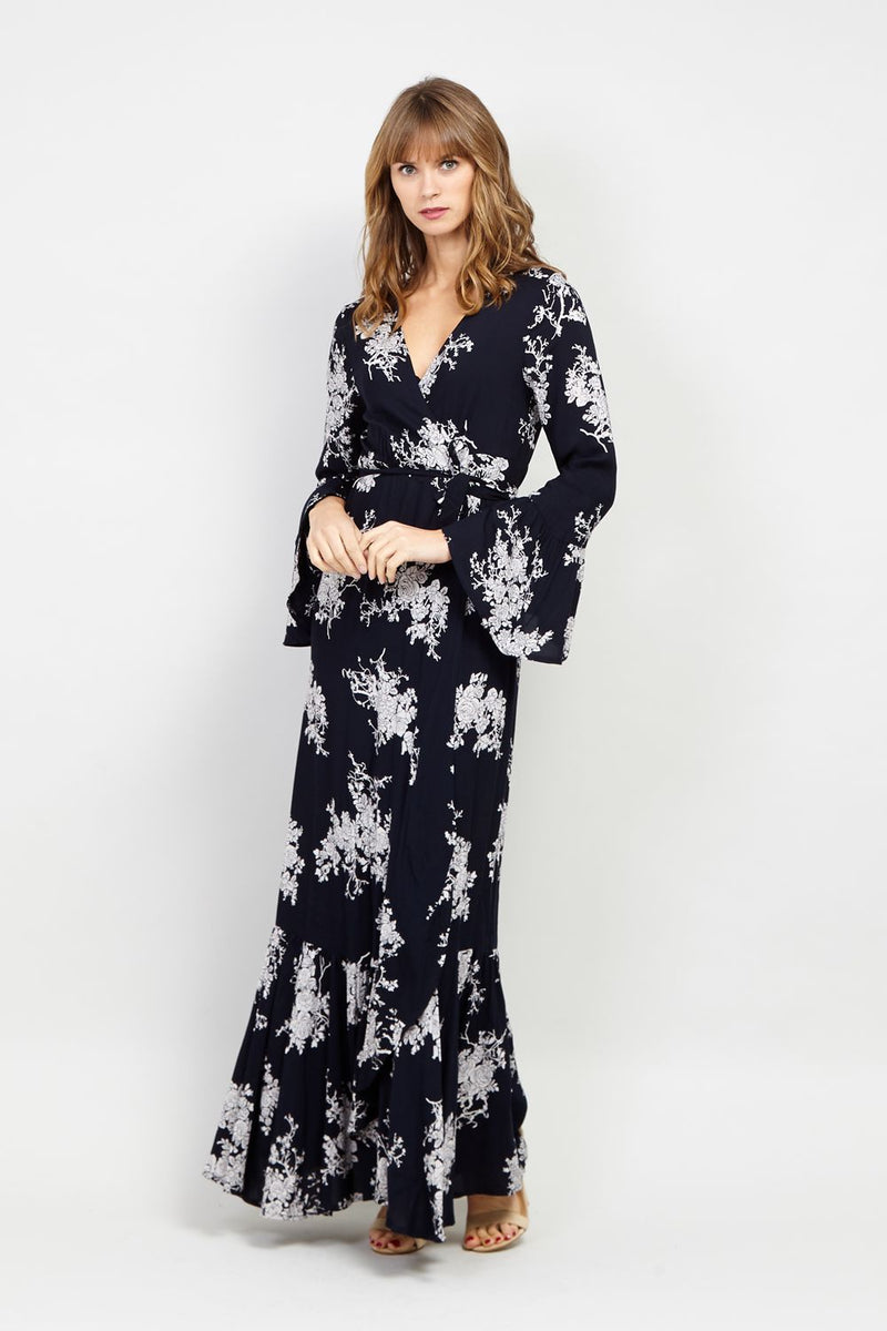 Navy | Flute Sleeve Maxi Dress