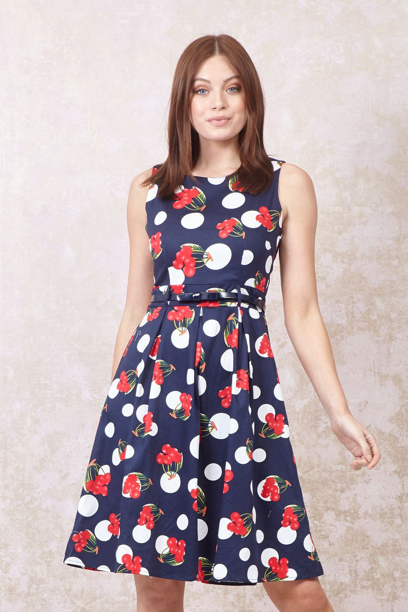 Navy | Cherry Print Fit & Flare Dress