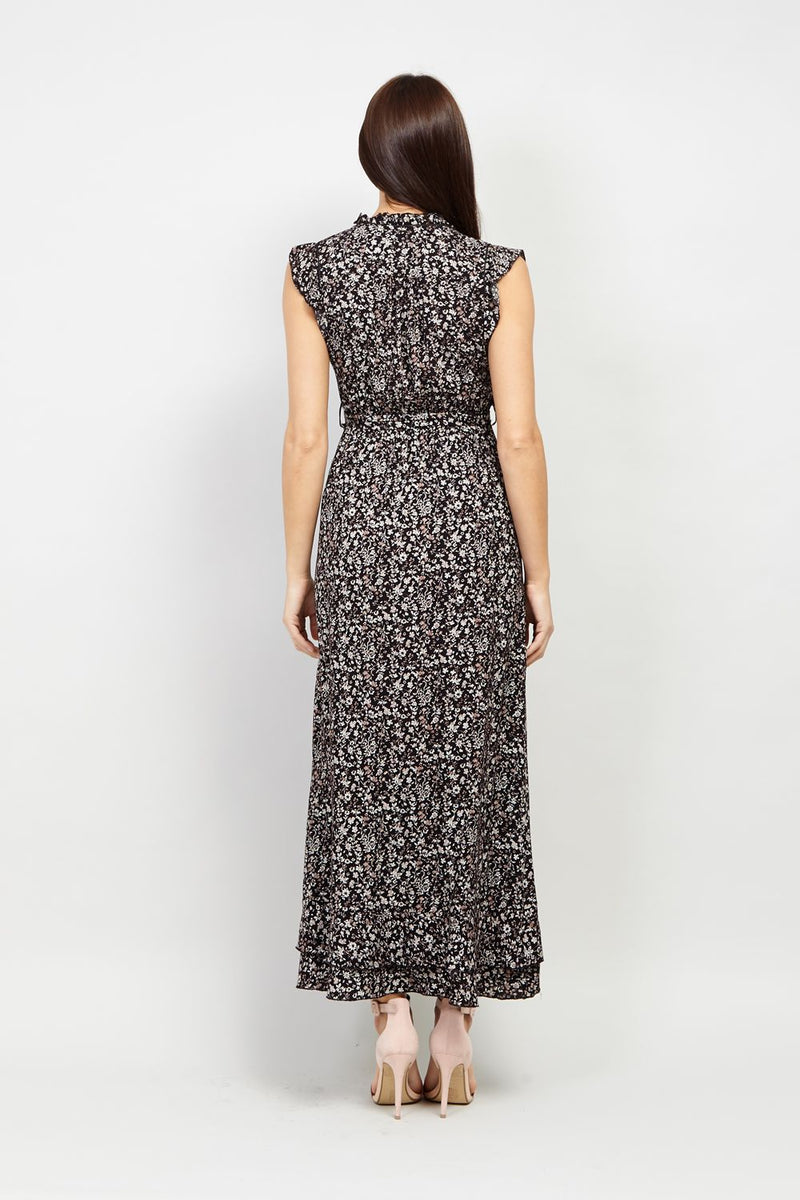 Black | Tie Waist Ditsy Floral Maxi Dress