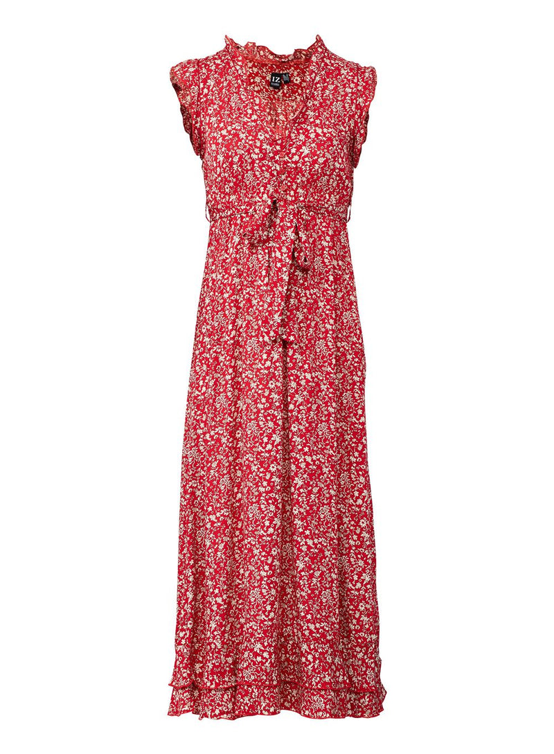Red | Tie Waist Ditsy Floral Maxi Dress
