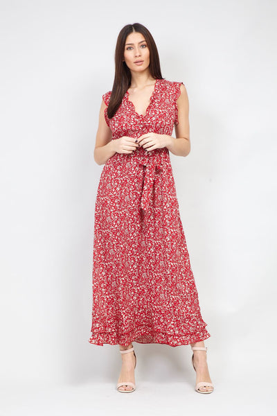 Red | Tie Waist Ditsy Floral Maxi Dress | Izabel London