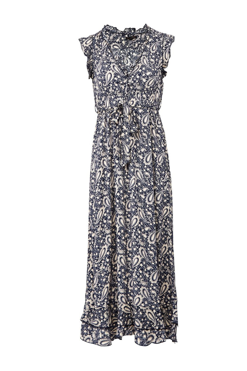 Navy | Paisley Print Tie Waist Maxi Dress