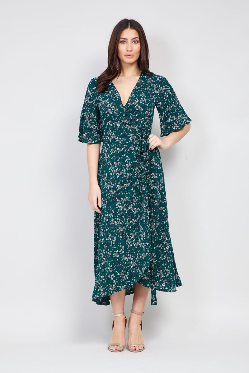 Green | Floral Wrap High Low Dress