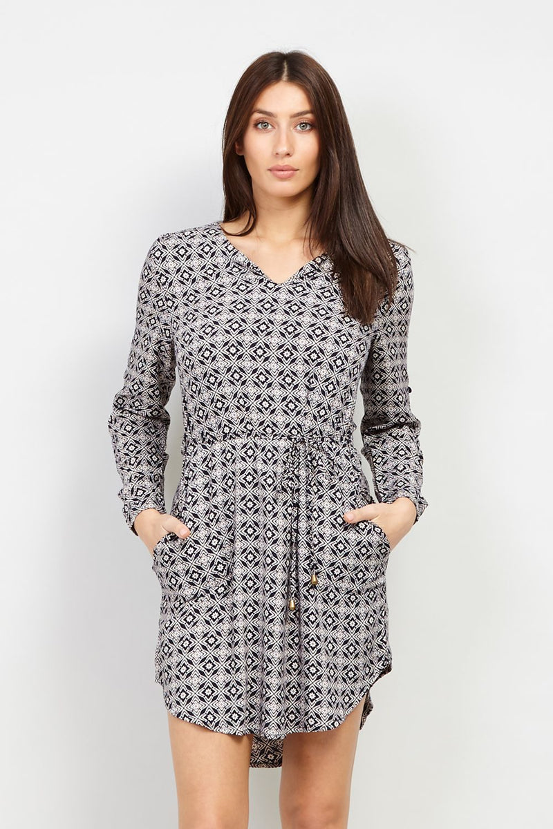 Navy | Geo Checked Tunic Dress