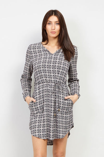 Geo Checked Tunic Dress - Izabel London
