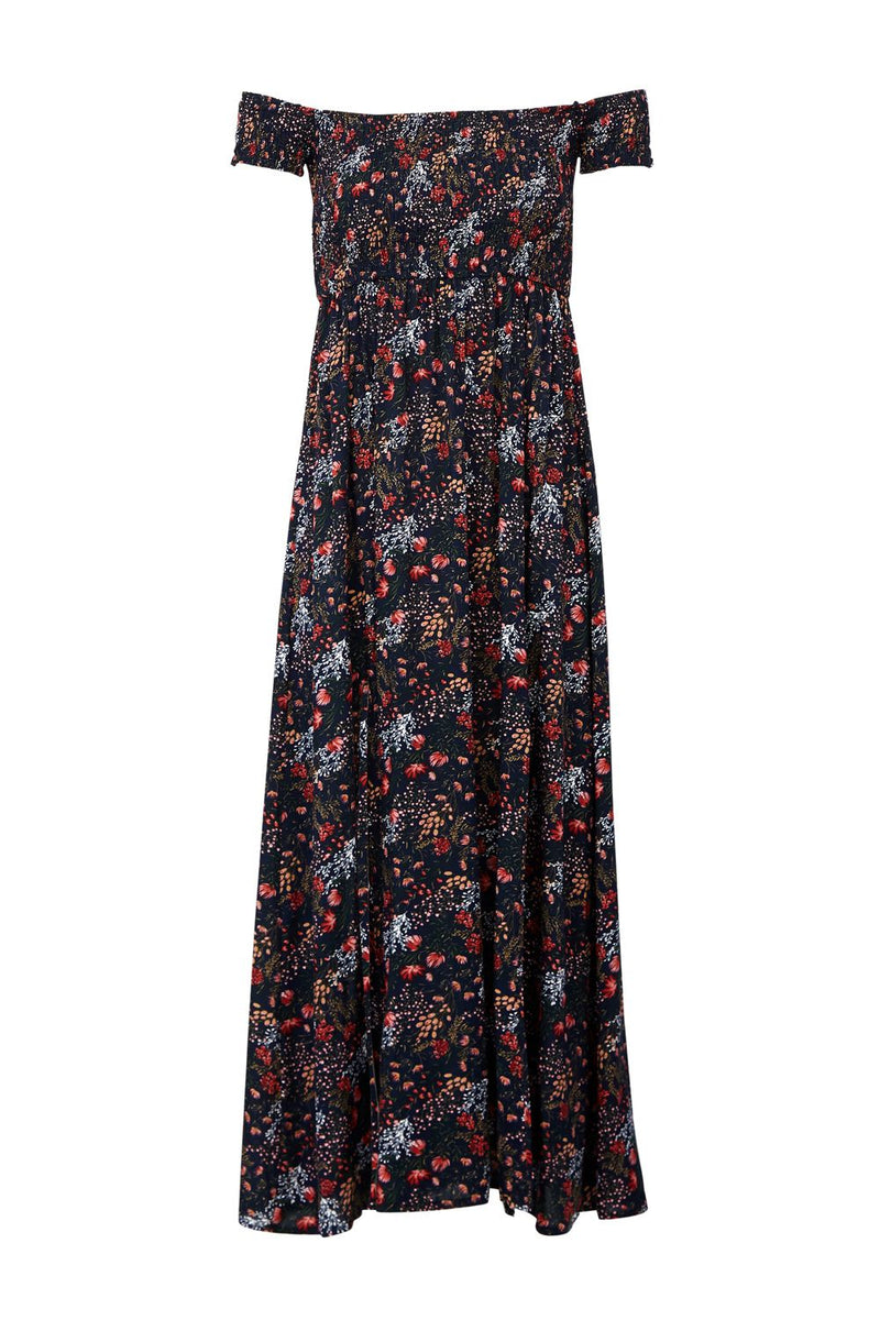 Navy | Floral Bardot Maxi Dress