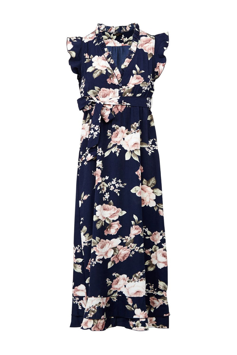 Floral Tie Waist Maxi Dress - Izabel London