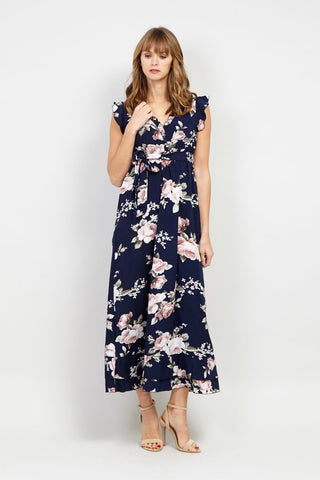 Floral High Neck Maxi Dress