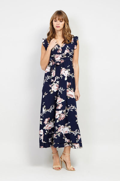 Floral Tie Waist Midi Dress - Izabel London