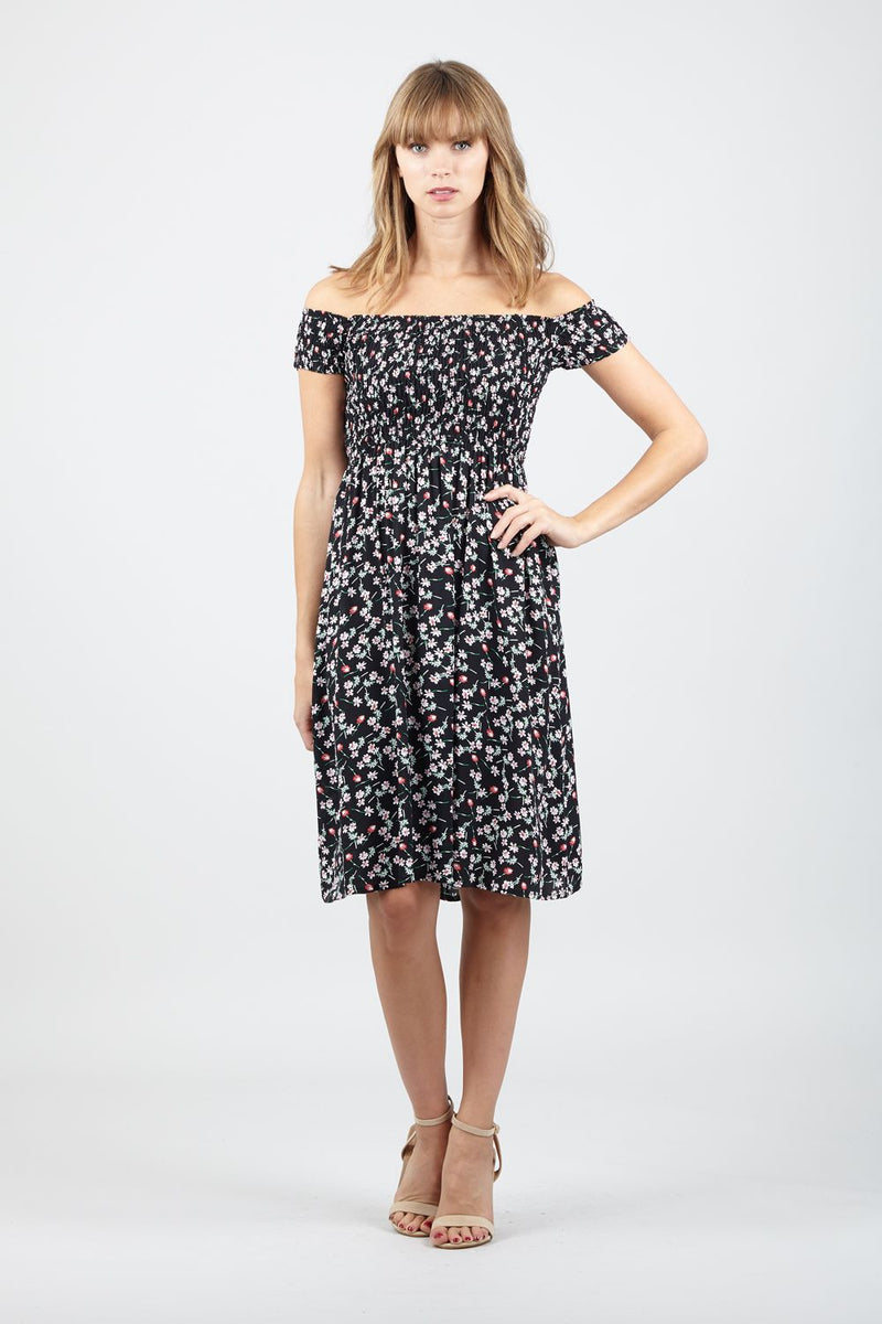 Black | Spring Floral Bardot Dress