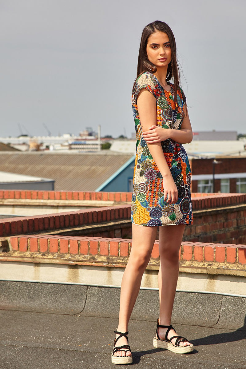 Orange | Mosaic Print Shift Dress