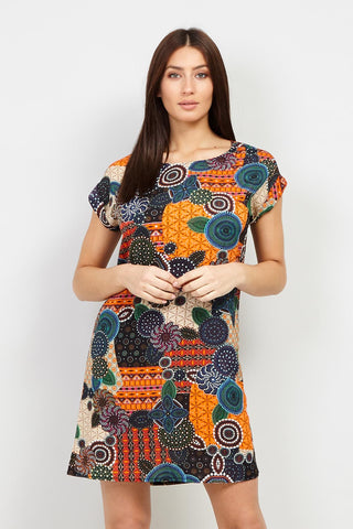Butterfly Print Black Shift Dress