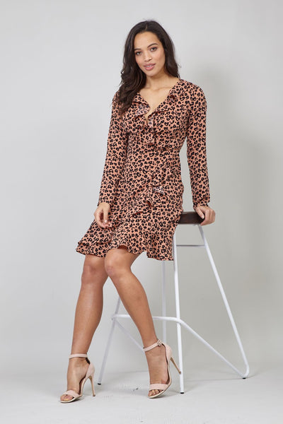 Pink | Animal Print Wrap Front Dress