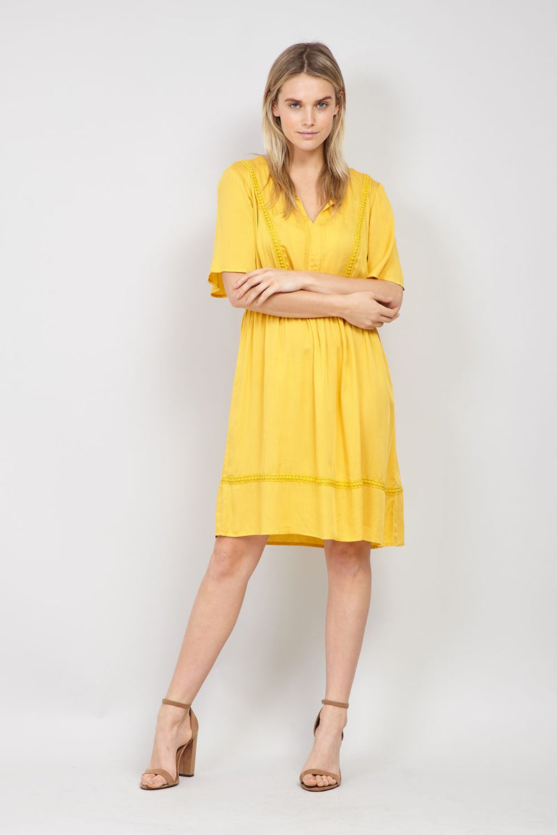 Mustard | Embroidered Trim Smock Dress