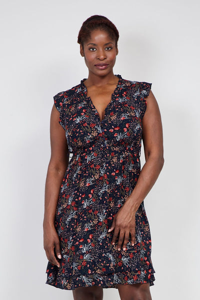 Curve Floral  Tie Waist Tea Dress - Izabel London