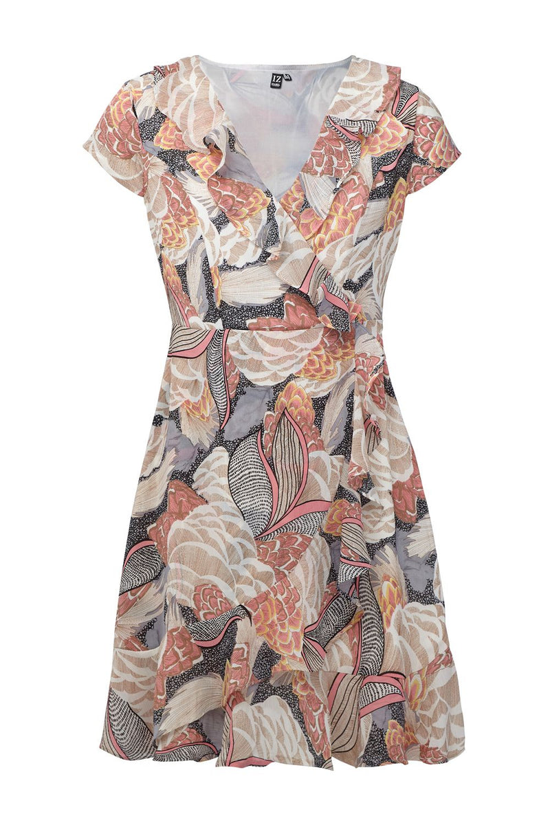 Coral | Floral & Frill Wrap Dress