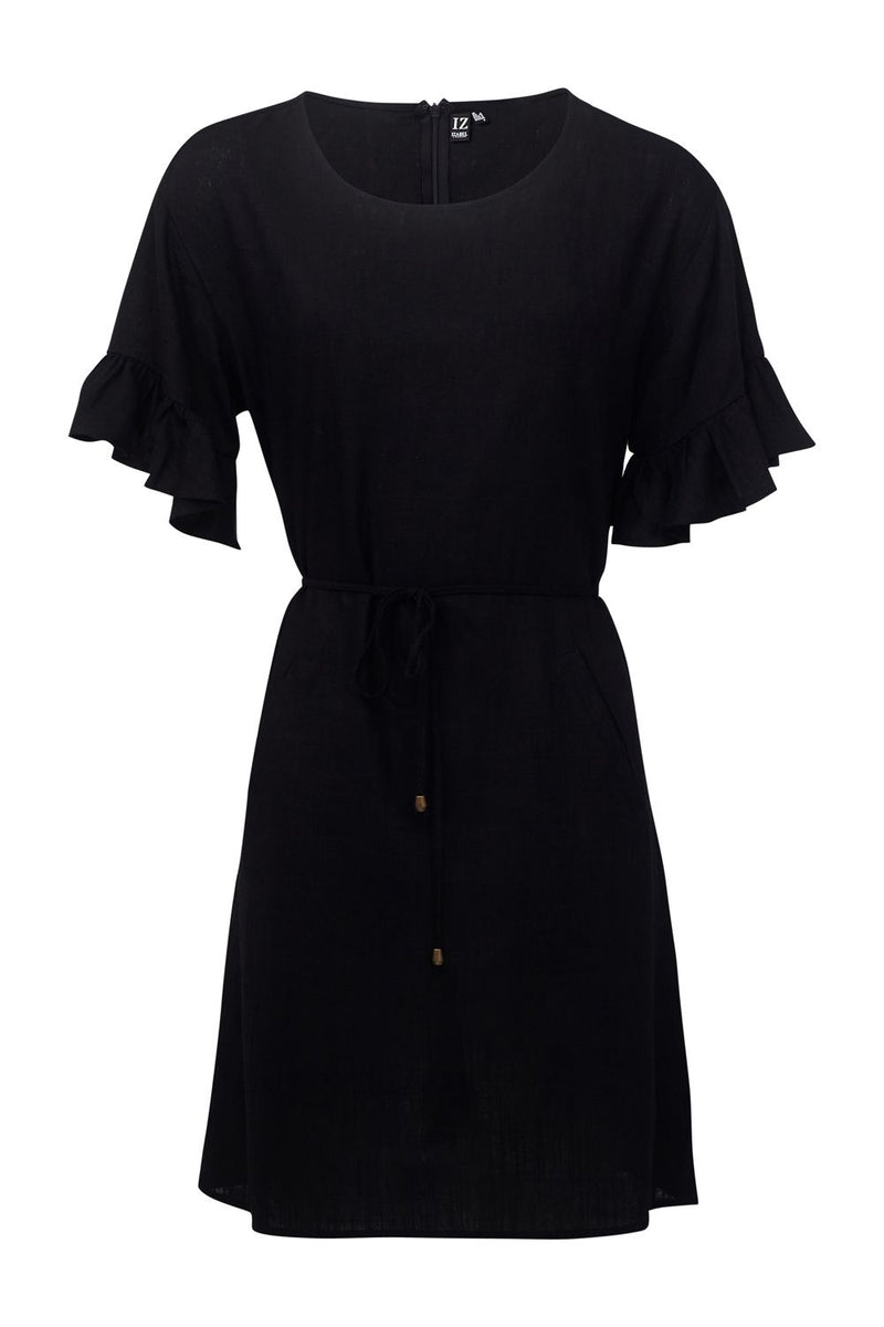 Black | Tie Waist Dress With Pockets