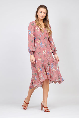 Ditsy Floral Sheer Sleeve Midi Dress
