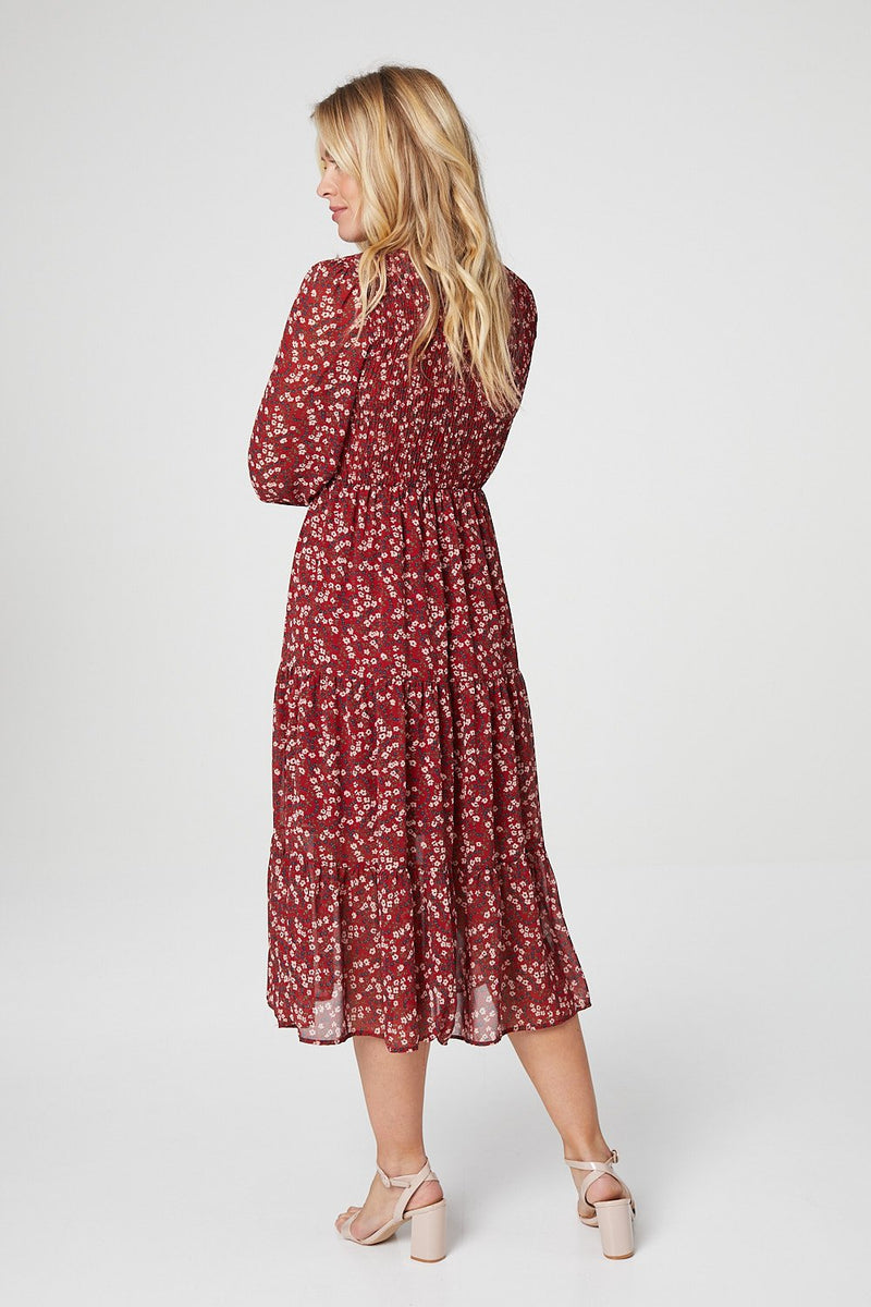 Red | Ditsy Floral Tiered Midi Dress