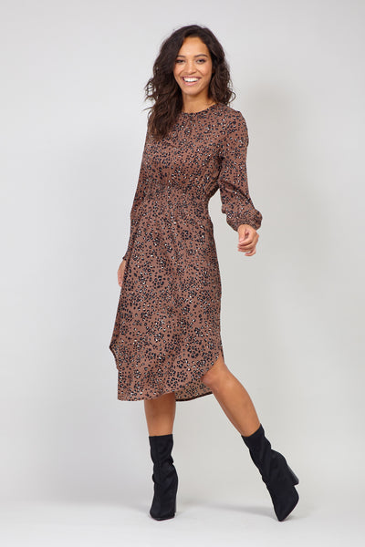 Brown | Animal Print Curve Hem Dress