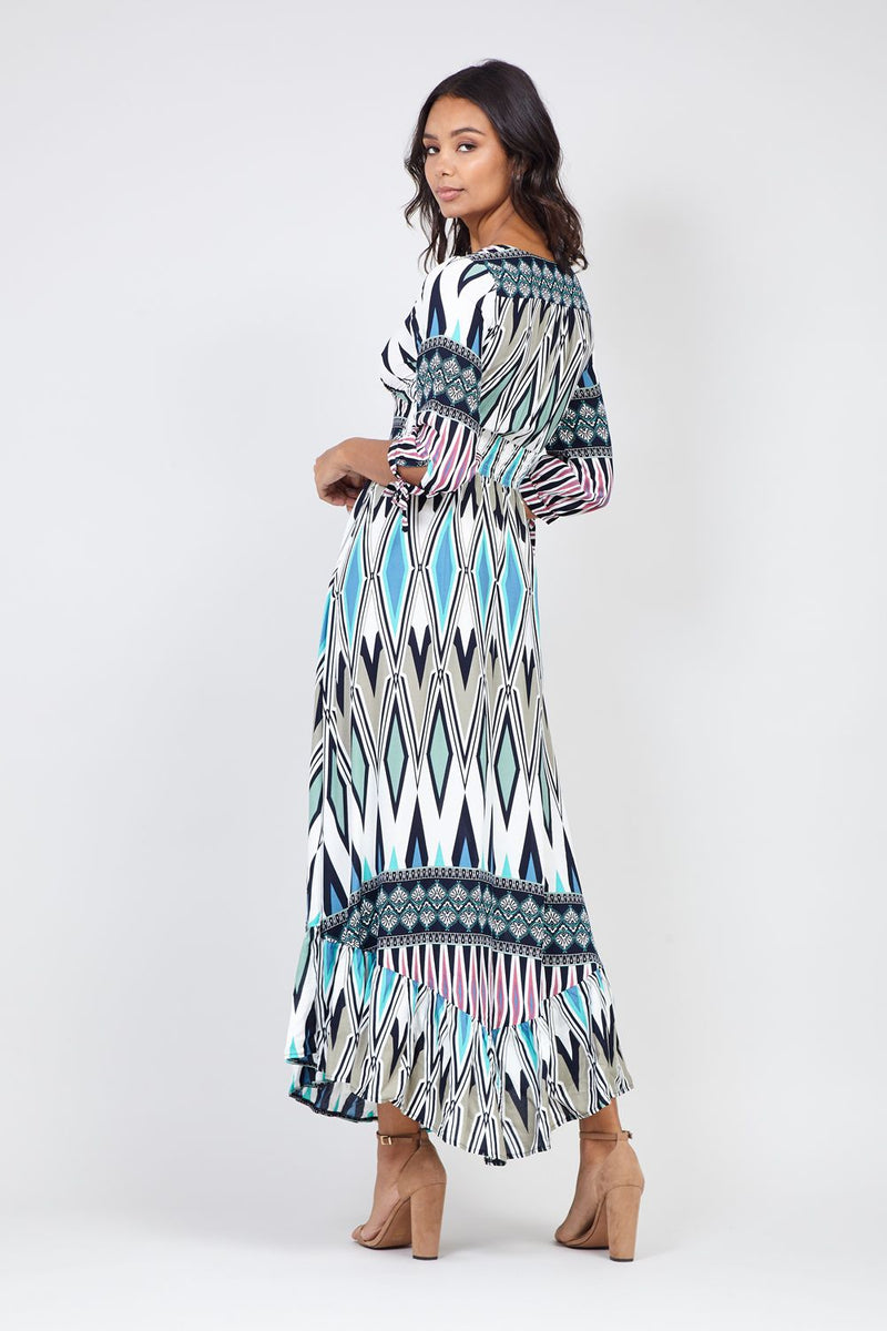 Navy | Tribal Tie Sleeve Maxi Dress