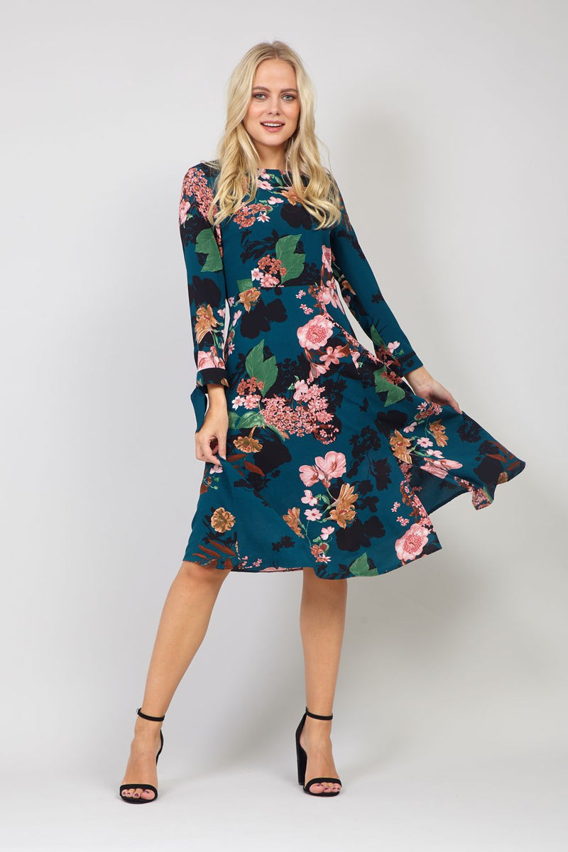 Green | Dark Floral A-Line Midi Dress