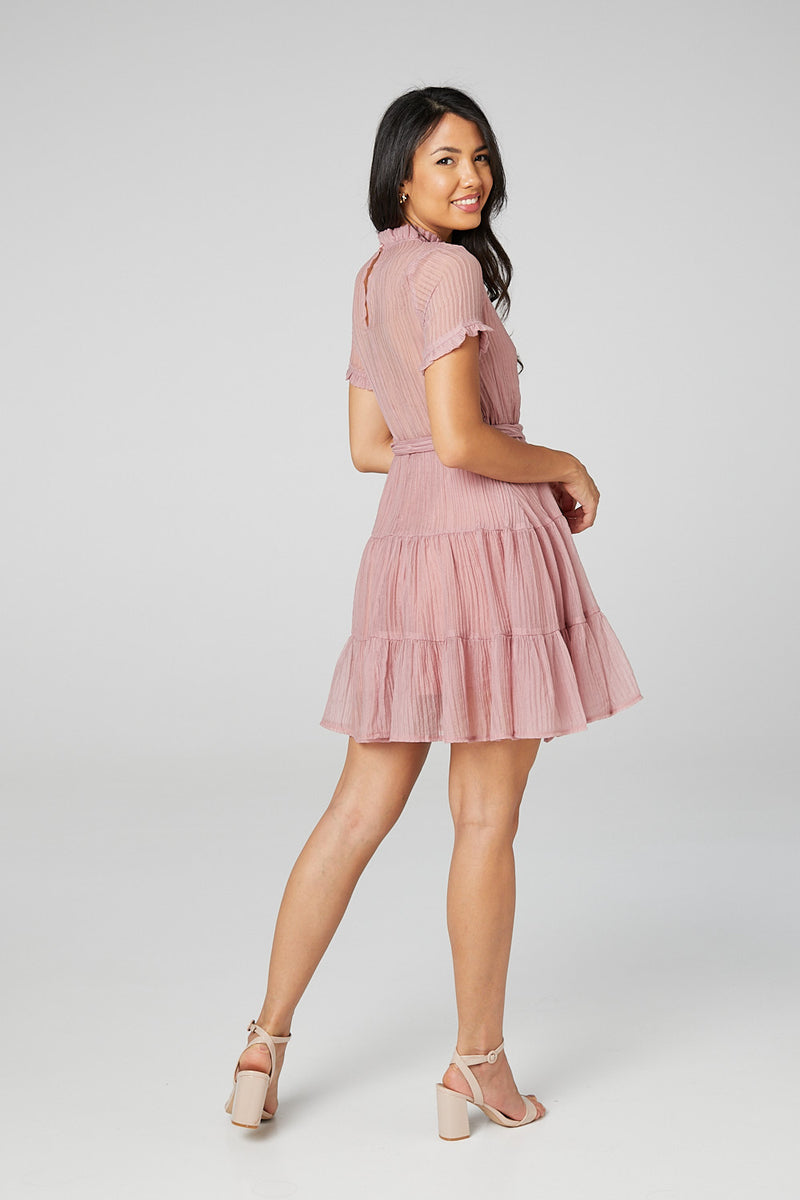 Pink | High Neck Fit & Flare Mini Dress