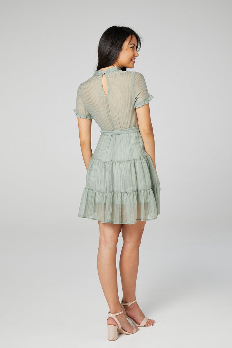 Sage | High Neck Fit & Flare Mini Dress