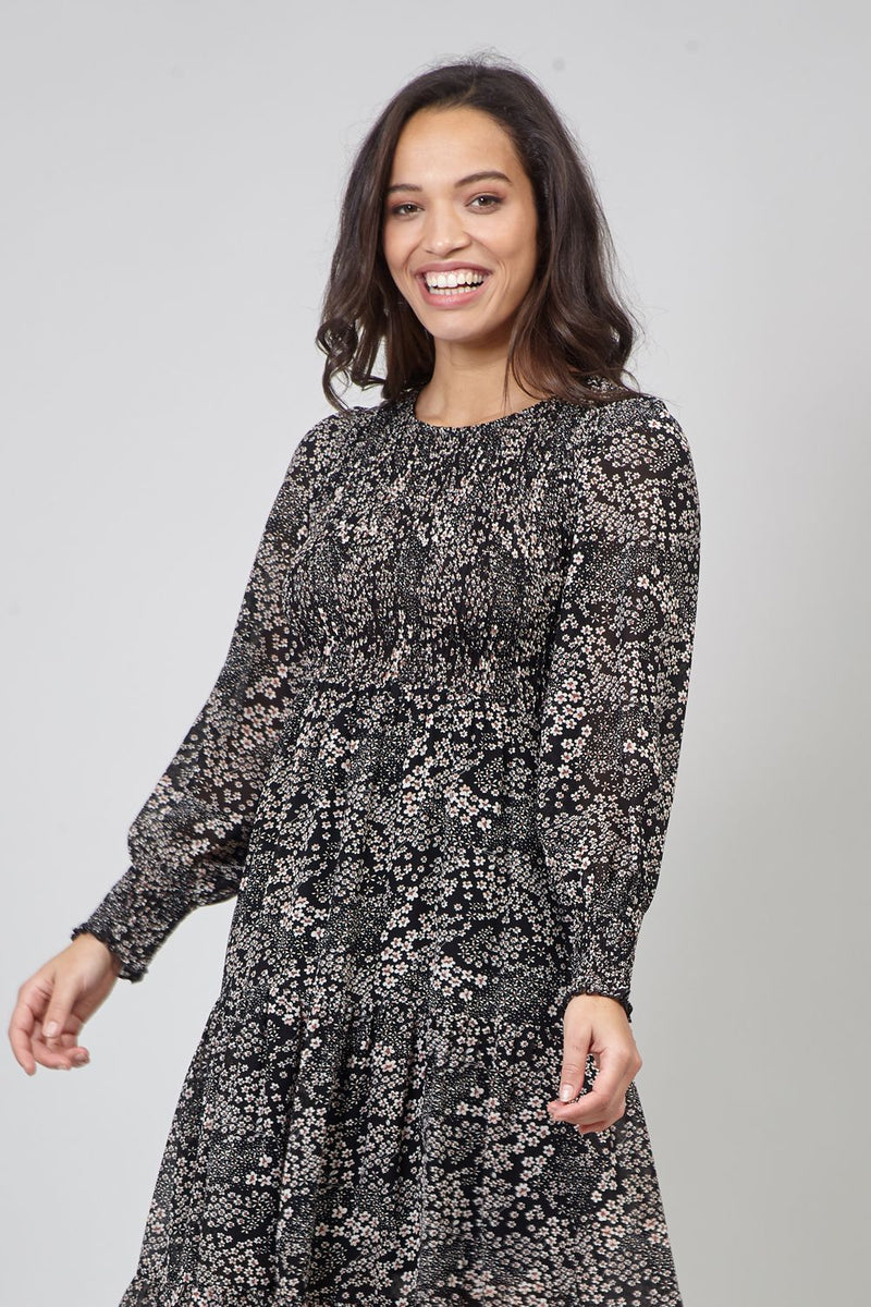 Black | Ditsy Floral Sheer Sleeve Midi Dress