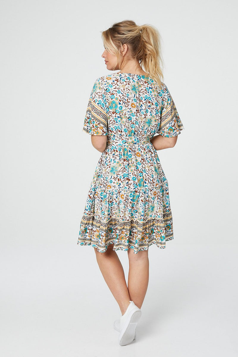 Blue | Vintage Floral Fit & Flare Dress