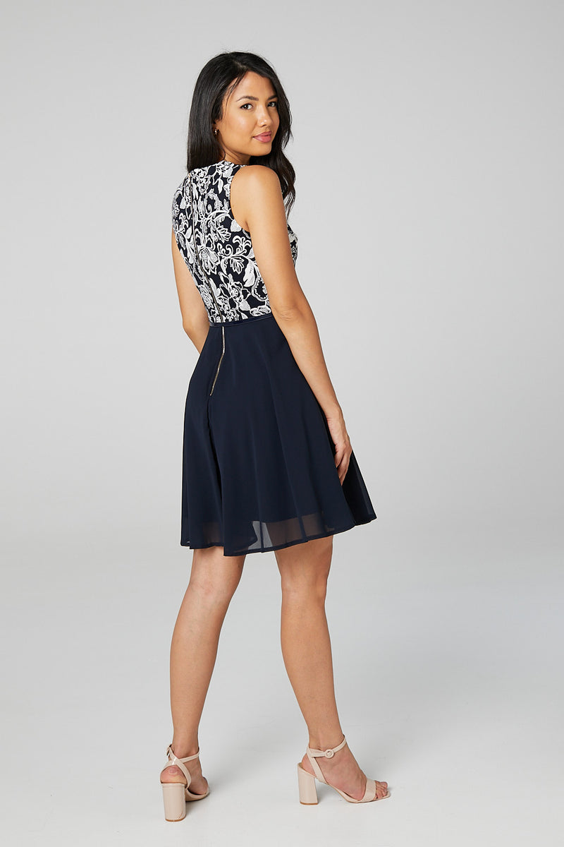 Navy | Floral Bodice Fit & Flare Dress