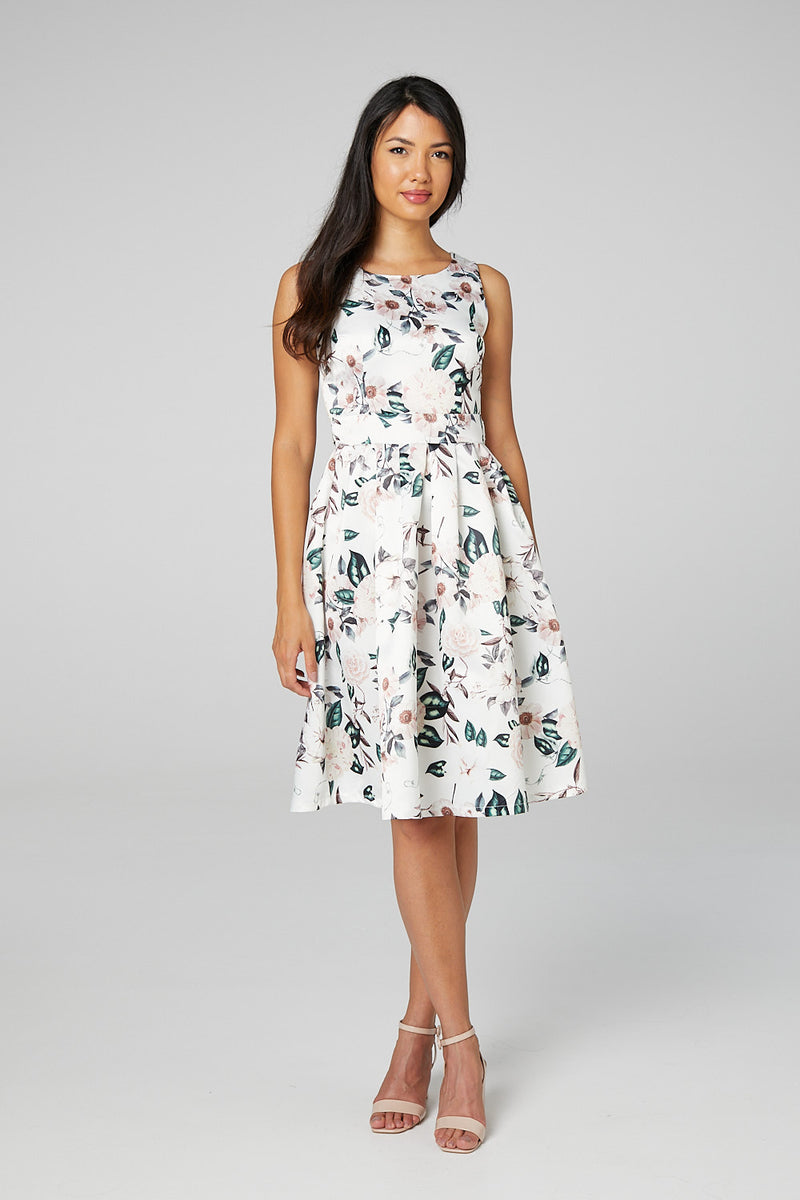 White | Floral Fit & Flare Dress with Belt