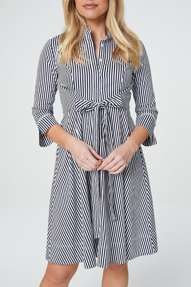 Navy | Striped Tie Waist Shirt Dress